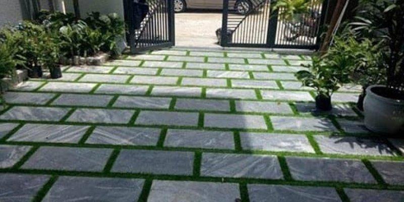 Đá tự nhiên băm mặt toàn phần màu xanh rêu lát sân vườn