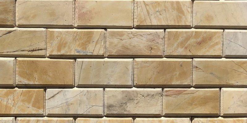 Đá chà cát soi cạnh vàng 10x20cm ốp tường trang trí mặt tiền