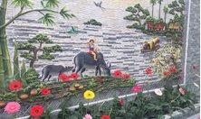 Trang trí tranh đá tự nhiên, tiểu cảnh đẹp với đá tự nhiên răng lược vàng