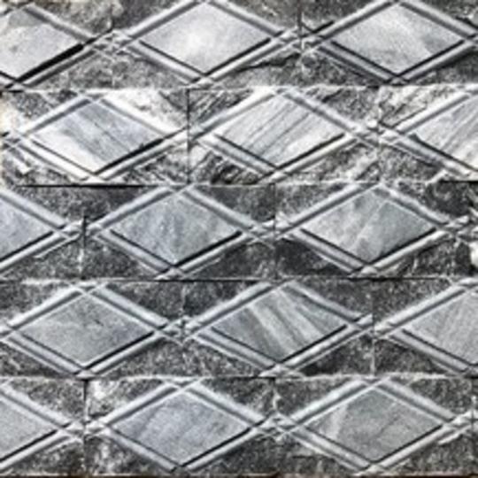 Đá tự nhiên quả trám caro đen kt 10x20cm